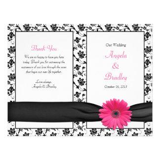 Pink Gerber Daisy Damask Floral Wedding Program