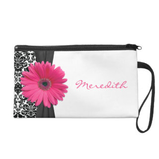 Pink Gerber Daisy Damask Personalized Wristlet Purse