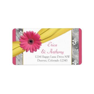 Pink Gerber Daisy Damask Wedding Address Labels