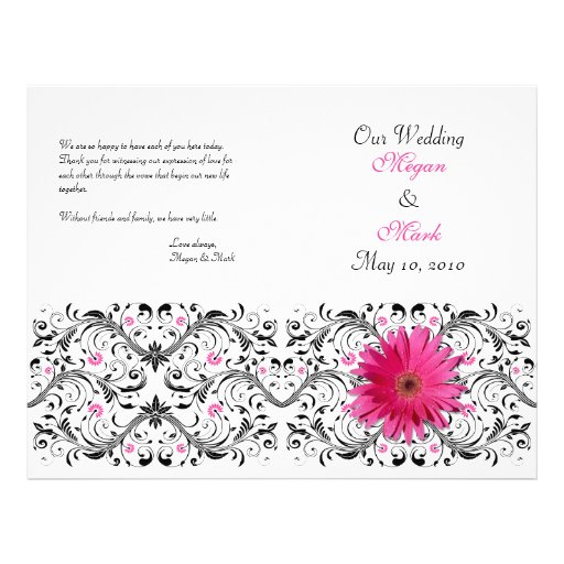 "Pink Gerber Daisy Floral Wedding Program 8.5"" X 11"" Flyer"