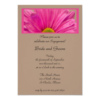 Pink Gerber Daisy Flower Engagement Party 5x7 Paper Invitation Card