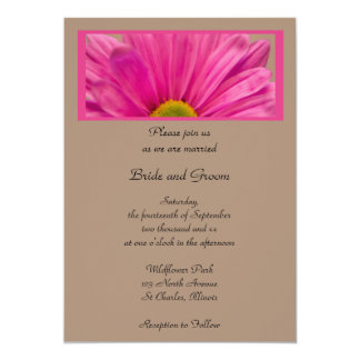 Pink Gerber Daisy Flower Wedding 5x7 Paper Invitation Card