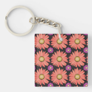 Pink Gerber Daisy Flowers on Black Floral Pattern Double-Sided Square Acrylic Keychain