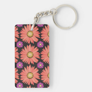 Pink Gerber Daisy Flowers on Black Floral Pattern Double-Sided Rectangular Acrylic Keychain