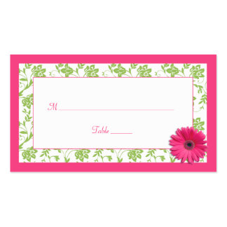 Pink Gerber Daisy Green Damask Wedding Place Cards Double-Sided Standard Business Cards (Pack Of 100)