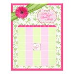 Pink Gerber Daisy Green Floral Bridal Shower Bingo Letterhead