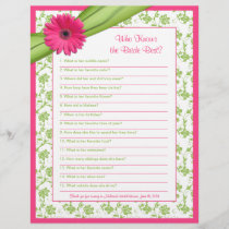 Pink Gerber Daisy Green Floral Bridal Shower Game