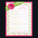 "Pink Gerber Daisy Green Floral Bridal Shower Game Letterhead<br><div class=""desc"">You can personalize the name on this hot pink (fuchsia) gerbera (gerber) daisy and chartreuse (peridot) green floral and ribbon personalized bridal shower &quot;who knows the bride best&quot; game. You can change the text using the personalize options. The colors on this bridal shower game are hot pink and bright green......</div>"