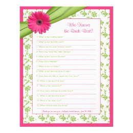 Pink Gerber Daisy Green Floral Bridal Shower Game Letterhead