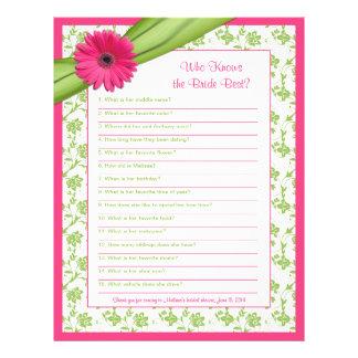 Pink Gerber Daisy Green Floral Bridal Shower Game Letterhead