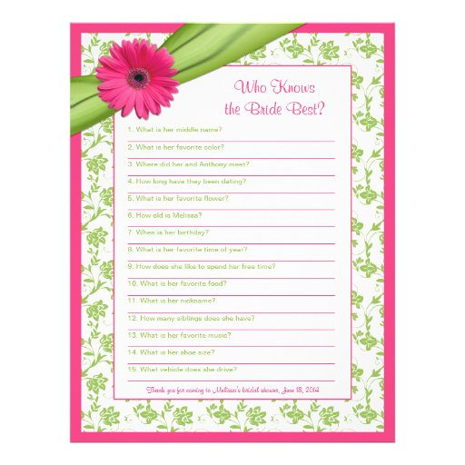 Pink Gerber Daisy Green Floral Bridal Shower Game Letterhead Template ...