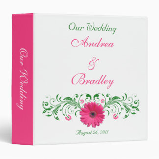 Pink Gerber Daisy Green Floral Wedding Binder
