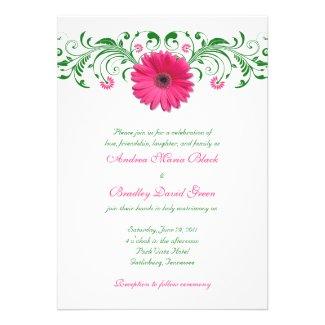 Pink Gerber Daisy Green Floral Wedding Invitation