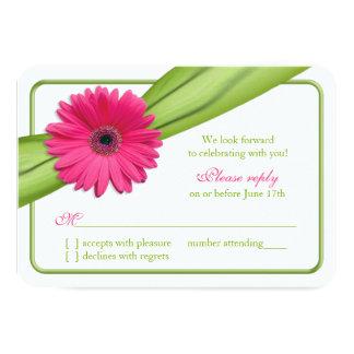 Pink Gerber Daisy Green Ribbon Wedding RSVP Custom Announcement