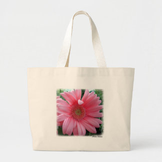 Pink Gerber Daisy Large Tote Bag