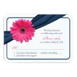 Pink Gerber Daisy Navy Blue Ribbon Wedding RSVP Custom Invitations
