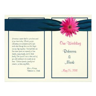 Pink Gerber Daisy Navy Ribbon Wedding Program