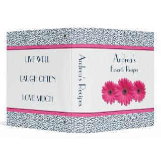 Pink Gerbera Daisy Navy White Floral Vinyl Recipe Binder