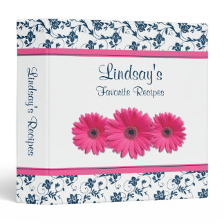 Pink Gerber Daisy Navy White Floral Recipe Binder