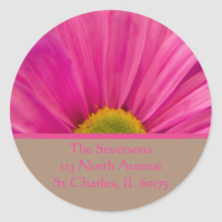 Pink Gerber Daisy on Tan Return Address Classic Round Sticker