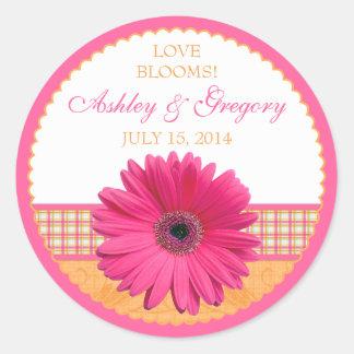 Pink Gerber Daisy Orange Plaid Ribbon Wedding Seal Classic Round Sticker