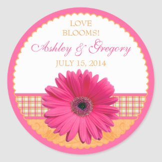 Pink Gerber Daisy Orange Plaid Ribbon Wedding Seal Round Stickers
