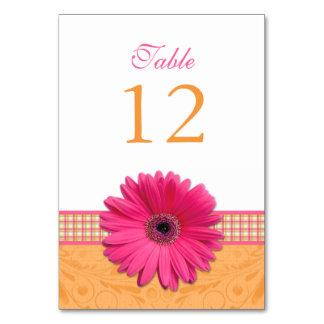 Pink Gerber Daisy Orange Plaid Ribbon Wedding Table Card