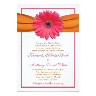 "Pink Gerber Daisy Orange Ribbon Wedding Invitation 5"" X 7"" Invitation Card"