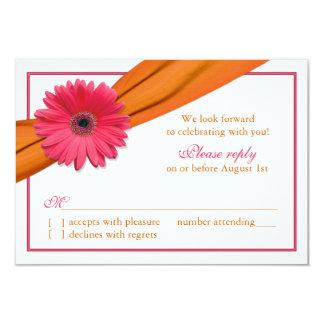 Pink Gerber Daisy Orange Ribbon Wedding RSVP Card Invitation