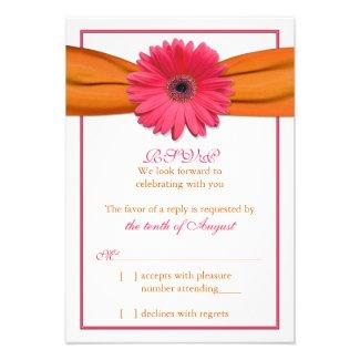 Pink Gerber Daisy Orange Ribbon Wedding RSVP Reply Custom Invitations