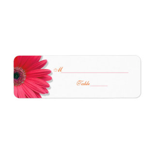 Pink Gerber Daisy Orange Text Wedding Tent Style Place Card Labels