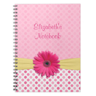 Pink Gerber Daisy Polka Dot Personalized Notebook