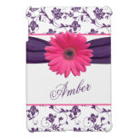 Pink Gerber Daisy Purple Damask Floral Personalize Case For The iPad Mini