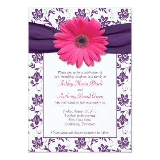 Pink Gerber Daisy Purple Damask Wedding Invitation