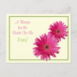 Pink Gerber Daisy Green Recipe Card for the Bride to Be