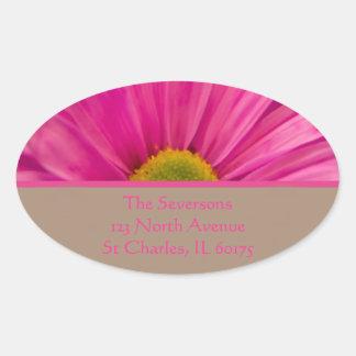 Pink Gerber Daisy Return Address Oval Sticker