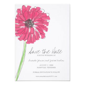Pink Gerber Daisy Save the Date Card