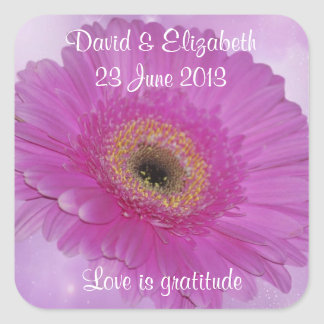 Pink Gerber daisy save the date Sticker