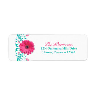 Pink Gerber Daisy Turquoise Floral Wedding Address Label