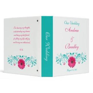 Pink Gerber Daisy Turquoise Floral Wedding Binder binder