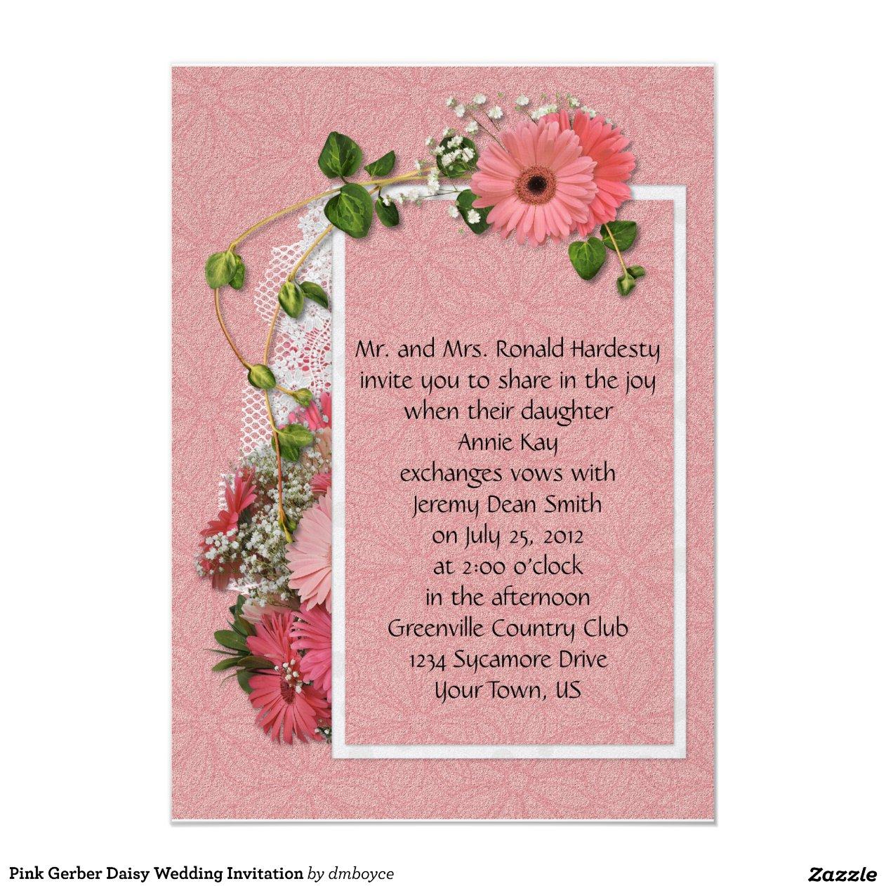 pink_gerber_daisy_wedding_invitation ...