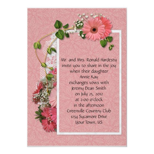 Hot Pink Gerbera Daisy White Wedding Invitation 5 X 7: Pink Gerber Daisy Wedding Invitation