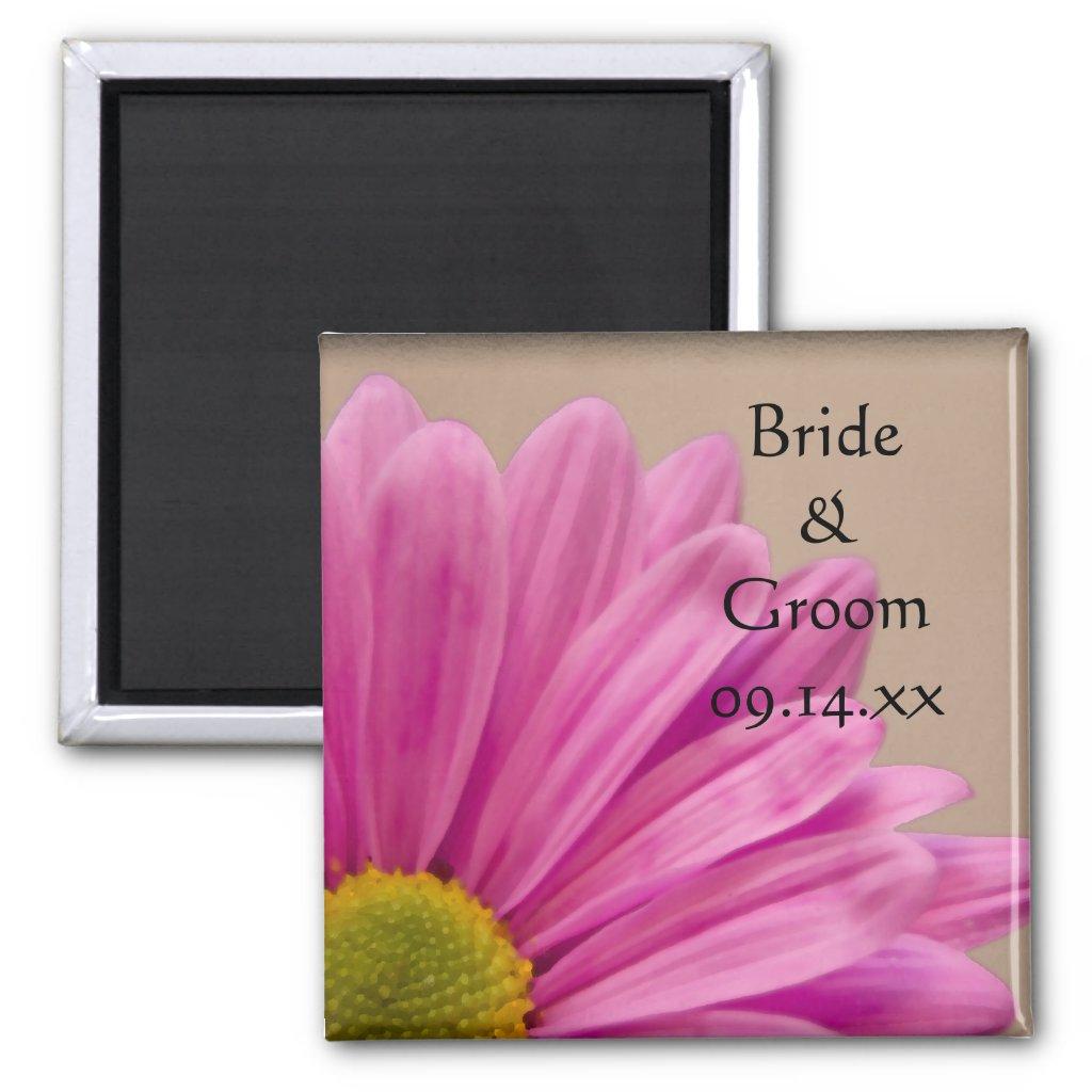 Pink Gerber Daisy Wedding Magnet