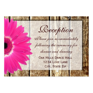 Pink Gerber Daisy Wedding Reception Direction Card Large Business Card