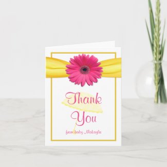 Pink Gerber Daisy Yellow Baby Shower Thank You Card