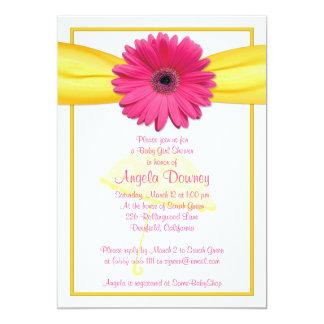 Pink Gerber Daisy Yellow Ribbon Baby Shower Invite