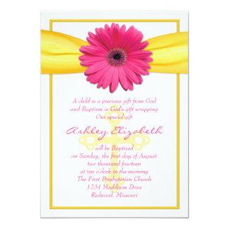 Pink Gerber Daisy Yellow Ribbon Baptism Invitation