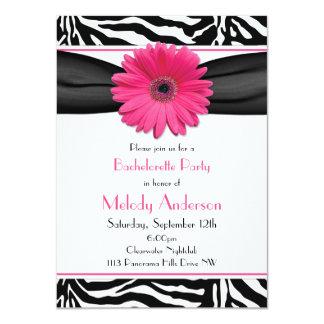 "Pink Gerber Daisy Zebra Print Bachelorette Party 4.5"" X 6.25"" Invitation Card"