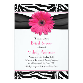 Pink Gerber Daisy Zebra Print Bridal Shower Card