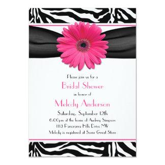 Pink Gerber Daisy Zebra Print Bridal Shower Card